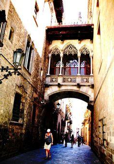 Carrer del Bisbe.Gothic heart of Barcelona.