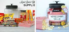 Movie Lover's Gift in a Jar: How to pack the perfect gift for a movie buff, with printable labels, tags and more. Christmas Arts And Crafts, Christmas Diy, Cinema Box, Diy Cadeau Noel, Brunch, Jar Gifts, Diy Box, Christmas Inspiration, Homemade Gifts