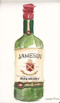 """When I drink """"dark"""", which is rare these days, it's Jameson. Then I shout. thepastelprince: TPP: All men should love Jameson Alcohol Bottles, Liquor Bottles, Vodka Bottle, Jameson Bottle, Whiskey Bottle, Bottle Drawing, Bottle Painting, Jameson Irish Whiskey, Food Sketch"""