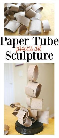 Recycle those paper towel tubes and use them to make a unique process art sculpture!