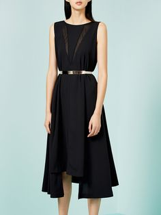 #AdoreWe StyleWe Midi Dresses - CHICCO MAO Black Asymmetric Sleeveless Midi Dress - AdoreWe.com