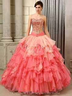 Ruffled Organza Ball Gown Floor Length Sweetheart Corset Prom Dress-US$226.99- StyleP2979-Victoria Prom