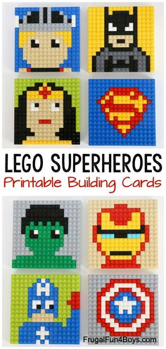 LEGO Superhero Mosaic Building Cards – Build 8 different Marvel and DC superhero patterns! Printable building cards for kids. - LEGO Superhero Building Cards - Frugal Fun For Boys and Girls Legos, Craft Stick Crafts, Crafts For Kids, Lego Poster, Lego Challenge, Lego Wall, Lego Activities, Lego Craft, Lego Club
