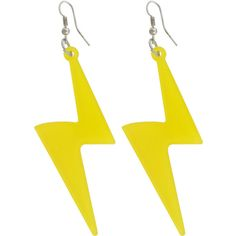 Blue Banana yellow lightning earrings, alternative jewellery, hanging... ($4.72) ❤ liked on Polyvore