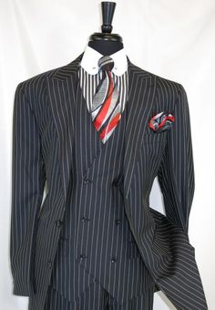 SKU Mens Black Pinstripe 3 Piece Peak Lapel Double Breasted Vest Suit Wit… SKU Mens Black Pinstripe 3 Piece Peak Lapel Double Breasted Vest Suit With Matching Pants Modern Mens Fashion, Mens Fashion Suits, Mens Suits, 70s Fashion, Dress Suits For Men, Suit And Tie, Men Dress, Sharp Dressed Man, Well Dressed Men