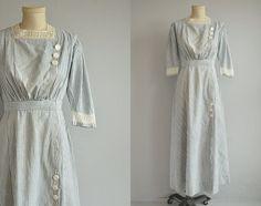Vintage Edwardian Dress / 1900s Indigo Chambray Stripe Cotton