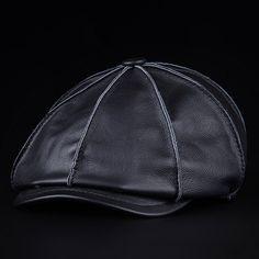 Men's Winter Leather Octagonal Cap Casual Vintage Newsboy Cap Golf Artist Hat