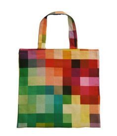 Cute little tote bag with a pixelated print.