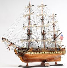 USS Constitution Old Ironsides Wood Tall Ship Model