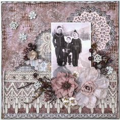 Little Snow Elves ~ Mixed media heritage winter page - love how the lace trim border has the look of icicles...such a lovely layout!