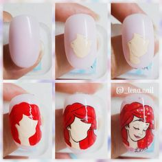 super ideas for nails mermaid nailart Funky Nail Art, Funky Nails, New Nail Art, Rose Nail Art, Rose Nails, Little Mermaid Nail Art, Nail Art Dessin, Peacock Nail Art, Disney Inspired Nails