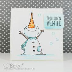 Weihnachtskarte/Winter-Karte mit Schneemann