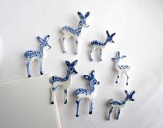 Handpainted Delft porcelain Brooch - Fawn. $45.00, via Etsy.