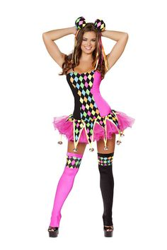 3 PC Lusty Laughter Costume includes body suit, tutu with bell detail, and ears. Nylon/Spandex.