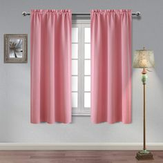 Homedocr Pink Blackout Curtains Thermal Insulated Energy Saving and Noise Reducing Room Darkening Window Curtains for Bedroom and Living Room, 42 x 63 Inches Length, 2 Drape Panels