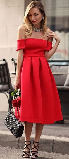 Romantic Off Shoulder Little Red Dress | Postolatieva
