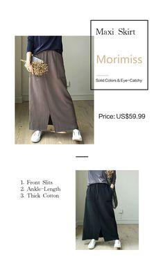 91b0845925 Basic Style Cotton Maxi Skirt Front Slits Fashion A-Line Skirt