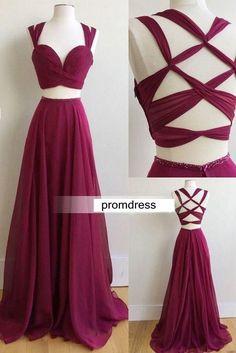 Fashion Unique Two Pieces Long Prom Dress , Long Winter Formal Dress P028