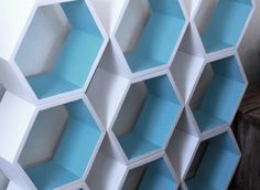 Customizable Honeycomb Nursery Shelves - 5 shelf set - Hexagon Shelves - Non-toxic Childrens Furniture. $189.00, via Etsy.