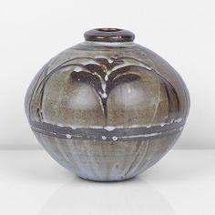 DAVID LEACH - 'Foxglove' Jar Stoneware, globular form with mottled white dolomite over iron glazes, a wax resist 'Foxglove' motif repeated around the shoulder, impressed DL seal