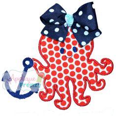 Octopus with Anchor Applique Design-