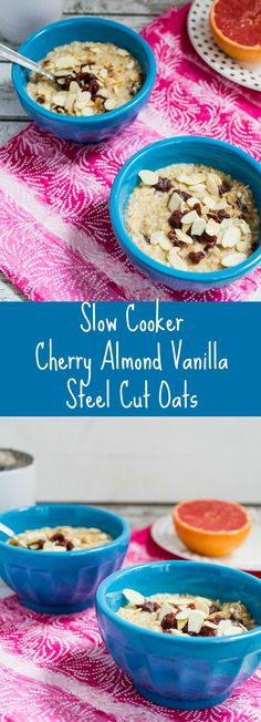 Slow Cooker Cherry Almond Vanilla Steel Cut Oats | girlinthelittleredkitchen.com