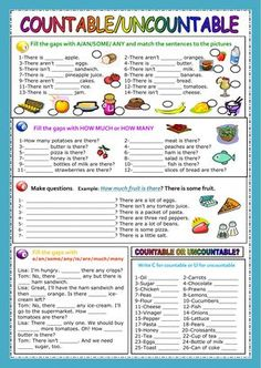 Countable and uncontable nouns interactive and downloadable worksheet. Check your answers online or send them to your teacher.