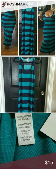 Lovely Blue Stripes Maxi Dress sz S Maxi dress obsession. Love the simplicity yet very feminine sexy look of this maxi. Not to mention the soft material which makes it extra comfortable to wear all day. Has great strech without looking stretched out ladies.  Brand American Apparel  Price firm, thanks. AA Dresses Maxi
