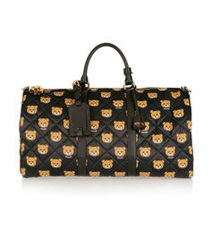 Moschino Leather-Trimmed Printed Quilted Shell Weekend Bag