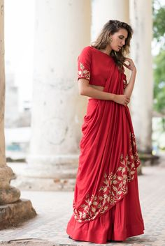 Shop Prathyusha Garimella Red lehenga saree with blouse , Exclusive Indian Designer Latest Collections Available at Aza Fashions Lehenga Skirt, Red Lehenga, Lehnga Dress, Lehenga Style, Jacket Lehenga, Lehenga Blouse, Indian Lehenga, Designer Bridal Lehenga, Bridal Lehenga Choli