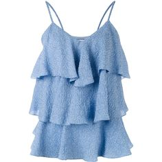 Paul & Joe tiered ruffled tank top (42505 RSD) ❤ liked on Polyvore featuring tops, blue, tiered ruffle top, light blue tank top, tiered ruffle tank top, light blue tank and layered ruffle top
