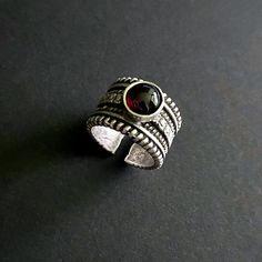 Garnet Rings, January Birthstone, Birthstone Rings, Garnet Jewelry, Boho Rings, Statement Ring, Silver Rings, Boho Jewelry, Gemstone Jewelry