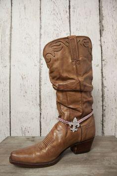 Fleur-de-lis Boot Bracelet - Pink - Classy Country