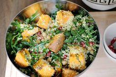 Süßkartoffelsalat mit Rucola und Kichererbsen