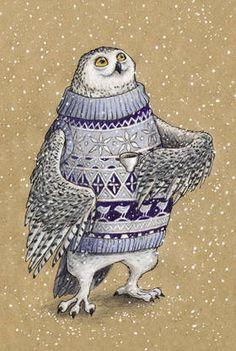 Рисованная авторская почтовая открытка с совой из серии «Зверушки в и с кружкой»