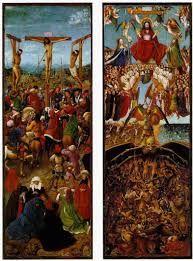 Van Eyck, Crocifissione e Giudizio finale, 1430, Olio su tavola, Metropolitan Museum, New York.