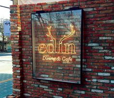 [카페간판] 네온사인 (카페에딘) : 네이버 블로그 Shop Signage, Signage Design, Sign Board Design, Shops, Environmental Graphics, Shop Window Displays, Layout, Shop Plans, Cafe Interior