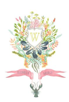 Hand Drawn Custom Floral Crest  Monogram |  Custom Monograms Crests | Heraldry | Designs for Weddings | Dinnerware | China