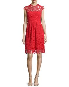 Cap-Sleeve+Jewel-Neck+Lace+Dress,+Red+by+Lela+Rose+at+Neiman+Marcus.