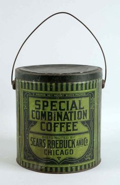 CLOSE UP PHOTOGRAPH; SPECIAL COMBINATION COFFEE.  ADVERTISING AND SLOGANS; 5 POUND NET WEIGHT WHEN PACKED.  SPECIAL COMBINATION COFFEE. DISTRIBUTED BY SEARS ROEBUCK AND CO. CHICAGO TRADEMARKED ™  COPYRIGHT ©