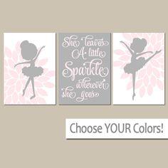 BALLERINA Wall Art, CANVAS or Prints She Leaves A Little Sparkle, Baby Girl Nursery Decor, Girl Bedroom Pictures, Dancer Artwork Set of 3