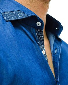 Stone Rose Denim Designer Dress Shirt - INDIGO DENIM Kurta Designs, Formal Shirts, Casual Shirts, Terno Casual, Mode Cool, Men Dress, Shirt Dress, Le Polo, Mens Fashion Wear