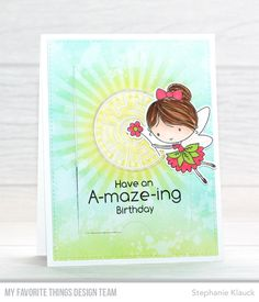 Fairy Happy stamp set and Die-namics, You're A-maze-ing, Blueprints 28 Die-namics, Circle Shaker Window & Frame Die-namics, Radiating Rays Stencil - Stephanie Klauck #mftstamps