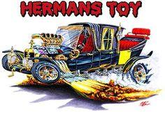 Vintage Hot Rod Art | Details about Munsters Koach Hot Rod Muscle Car Cartoon Tshirt