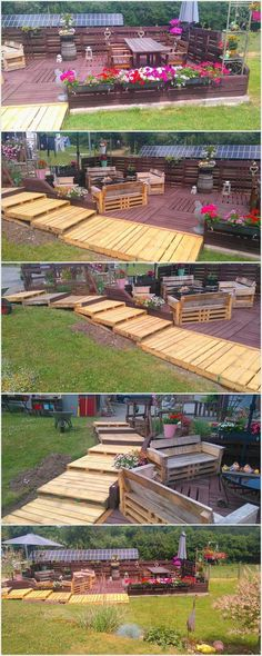If your house garden is equipped with the larger space into it, then why don't you add it with the exceptional designed wood pallet terrace and walkaway. This walkaway has been awesomely set with the wood pallet use into it with the additional concept of the wood pallet terrace on its one side.