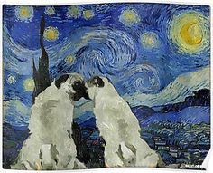 Starry Night Pugs Poster #pug