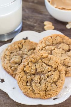 These peanut butter oatmeal cookies are soft, chewy and filled with peanut butter goodness. The oatmeal adds tons of texture, and it's a quick and easy recipe that all peanut butter fans are sure to love. Oatmeal Cookie Recipes, Easy Cookie Recipes, Oatmeal Cookies, Sweet Recipes, Baking Recipes, Cake Recipes, Dessert Recipes, Recipes Dinner, Best Peanut Butter Cookies
