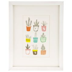 03587a72244d Potted Plant Variety Framed Wall Decor