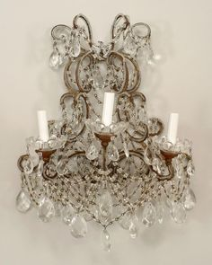 Italian Venetian lighting sconces crystal  [Note - not actually miniature but wouldn't it be swell to try to recreate this in miniature! - MS]