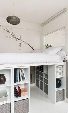 Room Ideas Bedroom, Small Room Bedroom, Bedroom Layouts, Bedroom Loft, Bedroom Storage, Modern Bedroom, Master Bedroom, Contemporary Bedroom, Mezzanine Bedroom